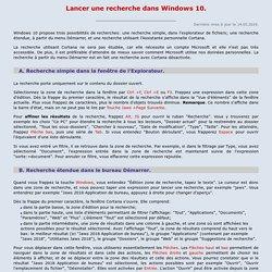 Lancer une recherche dans Windows 10