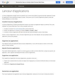 Lanceur d'applications - Centre d'aide ChromeWebStore