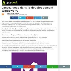 25/03/15 - Lancez vous dans la développement Windows 10