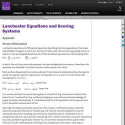 Lanchester Equations and Scoring Systems