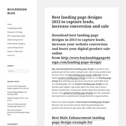 Best landing page designs 2013 to capture leads & conversion