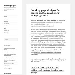 Landing page designs for online digital marketing campaign 2015