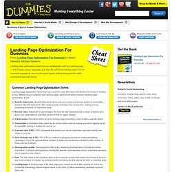 Landing Page Optimization For Dummies Cheat Sheet