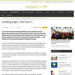 Landing page : c'est quoi ?