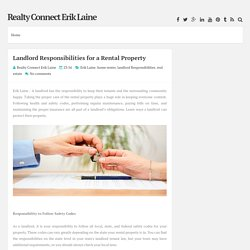 Landlord Responsibilities for a Rental Property ~ Realty Connect Erik Laine