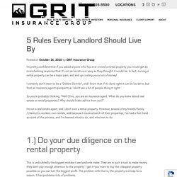 5 Rules Every Landlord Should Live By - GRIT Insurance Group