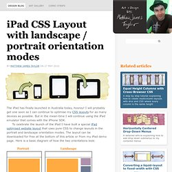 Free iPad CSS layout with landscape/portrait orientation modes