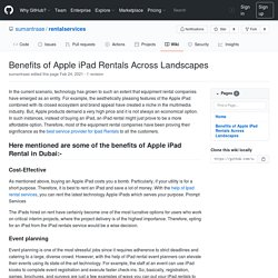 Benefits of Apple iPad Rentals Across Landscapes · sumantraae/rentalservices Wiki