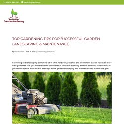 Top Gardening Tips for Successful Garden Landscaping & Maintenance