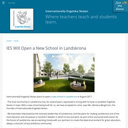 IES Will Open a New School in Landskrona