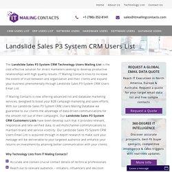 Landslide Sales P3 System CRM Users List