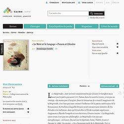 «Le Noir et le langage» Fanon et Césaire