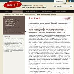 Langage d'indexation et langage de recherche