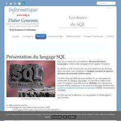 ▷ indg.fr : SQL, langage d'interrogation de bases de données