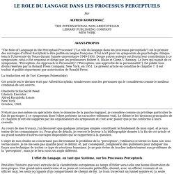 LE ROLE DU LANGAGE DANS LES PROCESSUS PERCEPTUELS