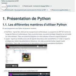 Le langage Python dans le programme de SNT