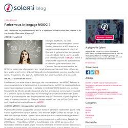Parlez-vous le langage MOOC ? - le blog de Solerni – plateforme de MOOCs