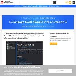 Le langage Swift d'Apple livré en version 5