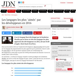 """Les langages les plus """"aimés"""" par lesdéveloppeurs en 2016"""