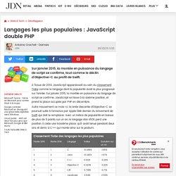 Langages les plus populaires : JavaScript double PHP
