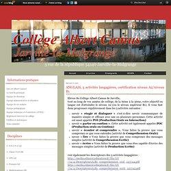 ANGLAIS, 5 activités langagières, certification niveau A2/niveau B1 - Le blog du college albert camus de jarville