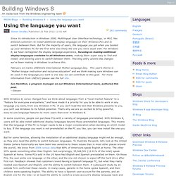 Using the language you want - Building Windows 8