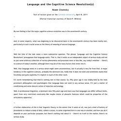 Language and the Cognitive Science Revolution(s)