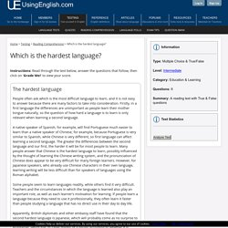 Which is the hardest language? - Reading Comprehension Exercise