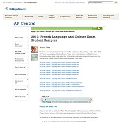 2012: French Language and Culture Exam Student Samples