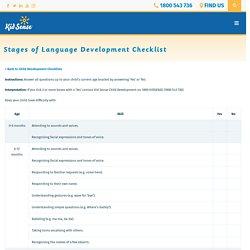 Stages of Language Development Checklist - Kid Sense Child Development