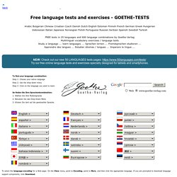 GOETHE TESTS - Language Excercises Vocabulary - Learn English Spanish German French