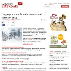 Language and words in the news – 22nd February