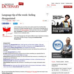 Language tip of the week: feeling disappointed