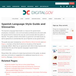 Spanish Language Style Guide and Glossaries