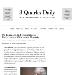 On Language and Humanity: In Conversation With Noam Chomsky
