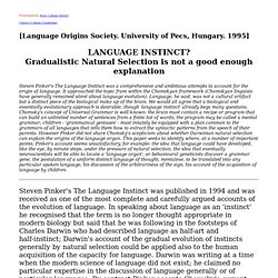 whether language is instinctive or learned essay Free essays when i learned the language of retail when i learned the language of retail 765 words jan 29th whether language is instinctive or learned essay.