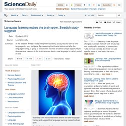 Language learning makes the brain grow, Swedish study suggests