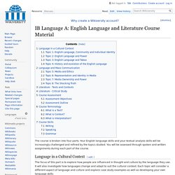 IB Language A: English Language and Literature Course Material