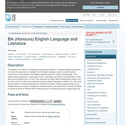 BA (Honours) English Language and Literature
