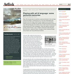 Playing with art & language: some personal memories - The Word As Art - Artlink Magazine
