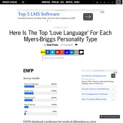 Here Is The Top 'Love Language' For Each Myers-Briggs Personality Type