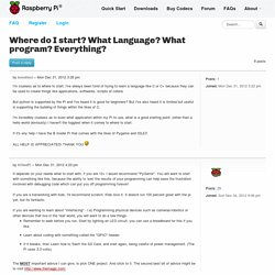Where do I start? What Language? What program? Everything?