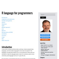 The R language, for programmers