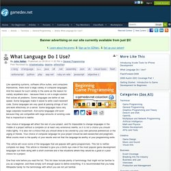 What Language Do I Use? - General Programming
