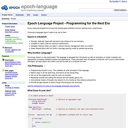 epoch-language - Epoch Programming Language