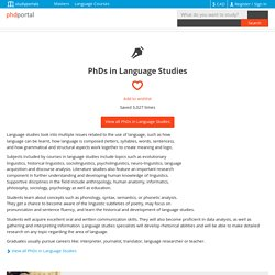 88 PhDs in Language Studies - PhDportal.eu