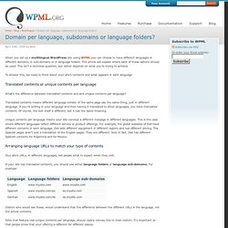 Domain per language, subdomains or language folders? | WPML