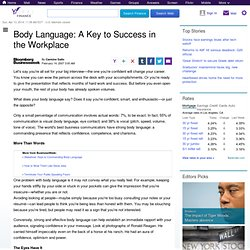 Body Language: A Key to Success in the Workplace : Yahoo! Finance