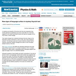 New signs of language surface in mystery Voynich text - physics-math - 21 June 2013