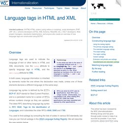 Language tags in HTML and XML